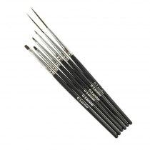 Набор кистей G.Lacolor для дизайна и китайской росписи с черной ручкой (6шт.) | Venko