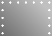 Визажное зеркало J-Mirror Hollywood с LED лампами, 600 х 1000 мм | Venko - Фото 41584