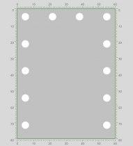 Визажное зеркало J-Mirror Hollywood T с LED лампами , 800 х 600 мм | Venko - Фото 41641