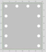 Визажное зеркало J-Mirror Hollywood T2 Color с лампами накаливания, 700 х 600 мм | Venko - Фото 41746