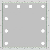 Визажное зеркало J-Mirror Hollywood T2 с LED лампами , 600 х 600 мм | Venko - Фото 41756