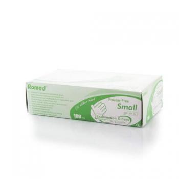 Латексные перчатки без пудры Romed S, 100 шт/уп , зеленые сняты | Venko