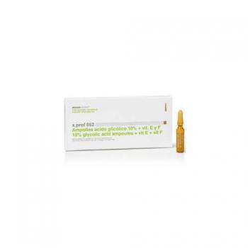 X.prof 052 Ампулы с 10% гликолевой кислотой и витаминами E+F/Glycolic acid 10% + vit.E&F-1*2мл | Venko