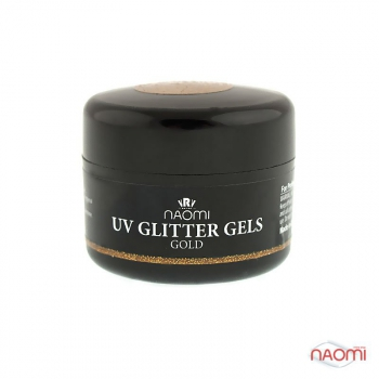 Гель Naomi UV Glitter Gel Gold, 14гр