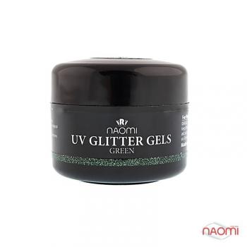 Гель Naomi UV Glitter Gel Green, 14гр | Venko