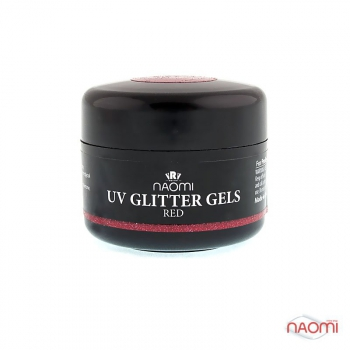 Гель Naomi UV Glitter Gel Red, 14гр