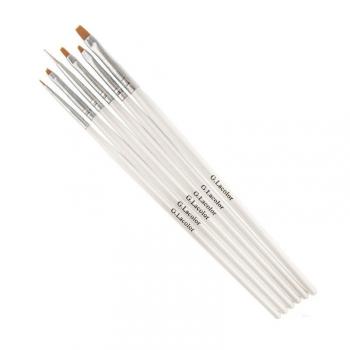 Набор кистей G.Lacolor для наращивания гелем и дизайна ногтей с белой ручкой (6шт.) | Venko