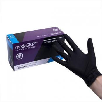 Нитриловые перчатки неопудренные NitrileblackPF M medaSEPT, 200 шт | Venko