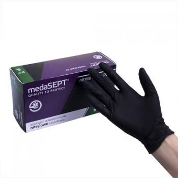 Нитриловые перчатки неопудренные NitrileblackPF S medaSEPT, 200 шт | Venko