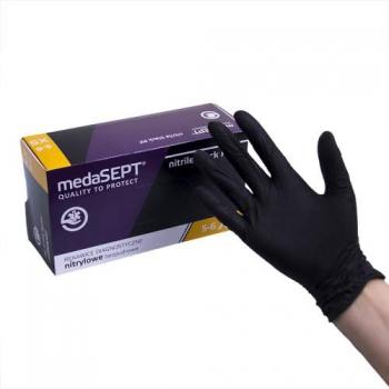 Нитриловые перчатки неопудренные NitrileblackPF XS medaSEPT, 200 шт | Venko