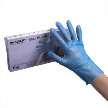 Полимерные перчатки неопудренные TPEXbluePF S medaSEPT, 100 шт | Venko
