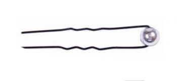 Шпилька Eurostil черная + бусинка серебро (уп. 6 шт) | Venko