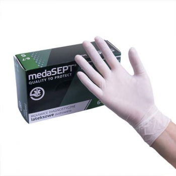 Латексные перчатки опудренные Latex XL medaSEPT, 100 шт