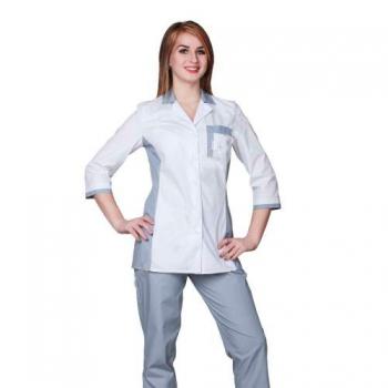 Жакет медицинский женский мод.Виктория 42-170(сорочка цвет сетло серый- белый)
