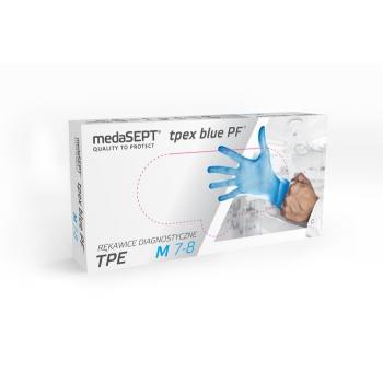 Полимерные перчатки неопудренные TPEXbluePF L medaSEPT, 100 шт | Venko