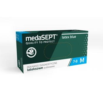 Латексные перчатки опудренные синие Latexblue L medaSEPT, 100 шт | Venko