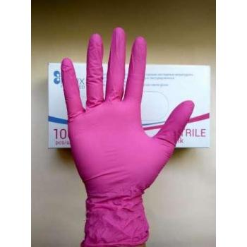 Перчатки нитриловые неопудренные розовые XS Polix PRO & MED, 100 шт | Venko